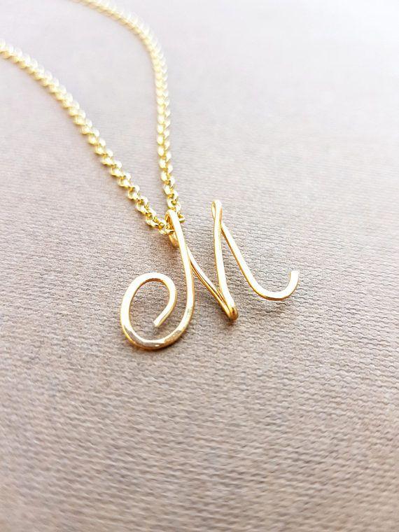 Cursive Gold Letter Alphabet Initial m necklace