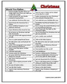 SLP Activity of the Week: Christmas Would You Rather Questions  - pinned by @PediaStaff – Please Visit ht.ly/63sNtfor all our ped therapy, school & special ed pins