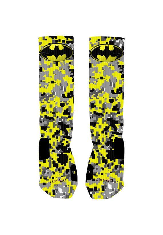 Custom designed Batman socks with reinforced toe and heel ...
