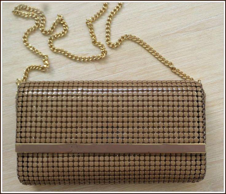 VINTAGE 80s glomesh COFFEE MESH CHAINLINK CLUTCH evening shoulder BAG handbag