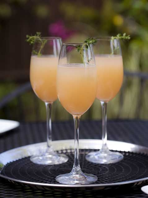A Bellini is a long drink cocktail that originated in Venice. It is a mixture of sparkling wine (traditionally Prosecco) and peach purée often served at celebrations.