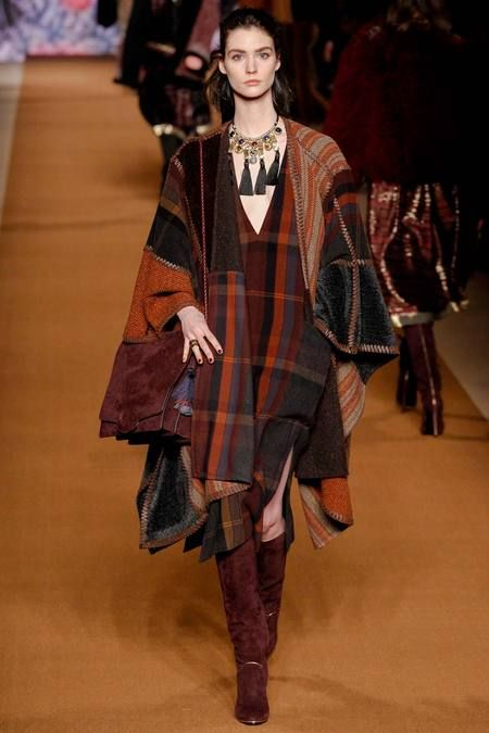 Look 22, Etro Fall 2014 Collection. A feminine take on the flowing-blanket-wearing Silk-Road sherpa!
