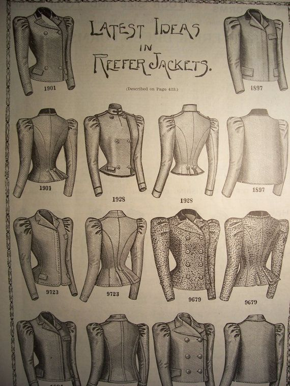 1898 REEFER JACKETS Victorian Fashions by VintagePaperGallery, $5.00