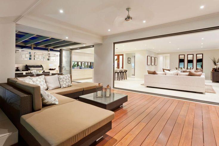 Seamless indoor outdoor space. The Oasis home design by McDonald Jones Homes. View it at North Lakes display village in Brisbane. #alfresco #outdoorliving #summer #queensland #brisbane #mcdonaldjones