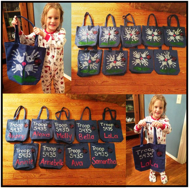 Check these tote bags made for a new Daisy troop!  This is a great craft project that the girls can work on at a Troop meeting.  This Troop is going to put swaps on them their first year!