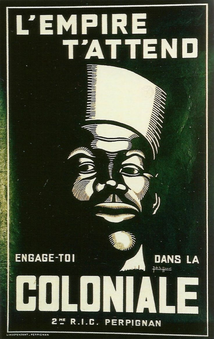 """L'Empire t'attend. Engage-toi dans la Coloniale. 2e RIC Perpignan"", affiche de recrutement signée Jean de La Hague, 1942"