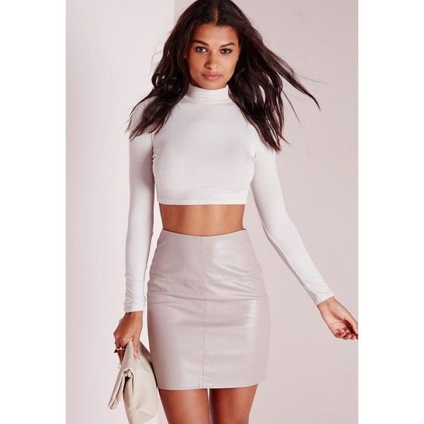 Missguided Faux Leather Mini Skirt ($27) ❤ liked on Polyvore featuring skirts, mini skirts, grey, leather look mini skirt, faux-leather skirts, grey skirt, short skirts and leather look skirt
