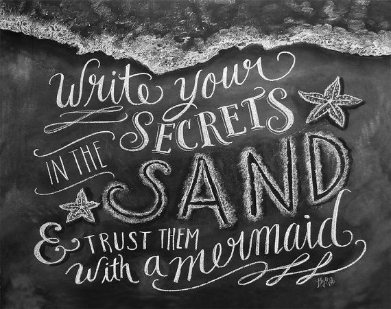 Beach Print Chalkboard Art Write Your Secrets In by LilyandVal