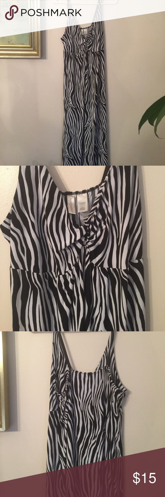 Ambrielle gorgeous zebra print maxi dress Medium black and white zebra slinky adjustable straps beach dress or just out on the town with a black duster or vest. Really sexy! Ambrielle Dresses Maxi