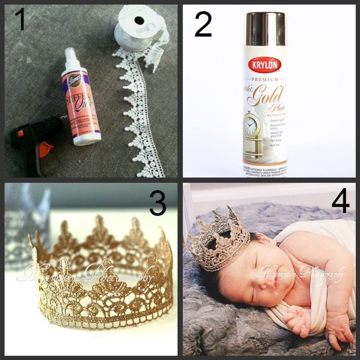 Newborn baby photo prop ideas EASY DIY from www.hamptonphotog... hamptonphotograph... Trim fabric, glue gun, gold or siler spray paint and fabric stiffener! EASY!!