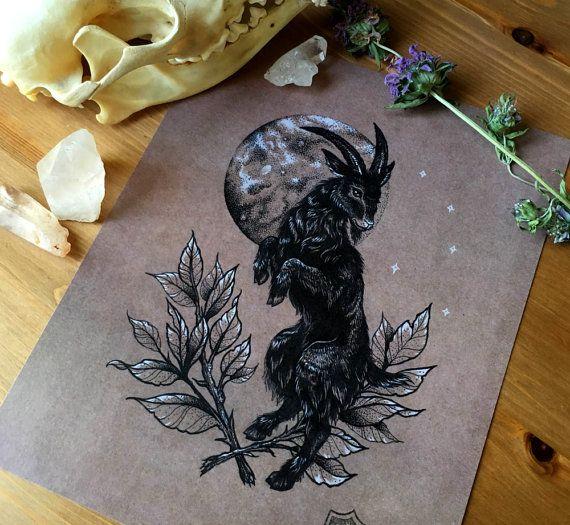 BLACK PHILLIP  8x10 Ink Illustration Digital by catxbonecraft