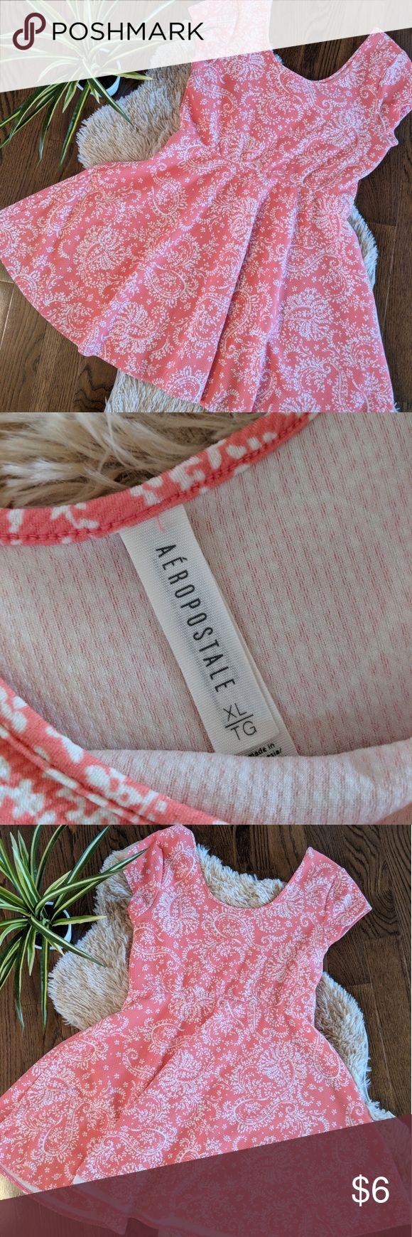 Floral Print Dress ✨ Salmon Color, wide neck, short sleeve dress Aeropostale Dresses