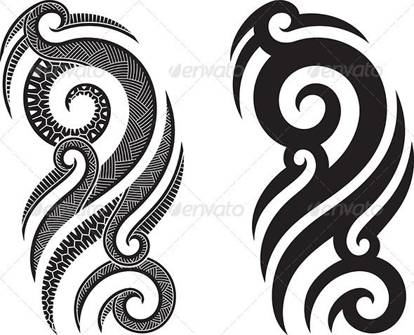 Maori tattoo pattern — Vector EPS #curl #tattoo • Available here → https://graphicriver.net/item/maori-tattoo-pattern/2376452?ref=pxcr