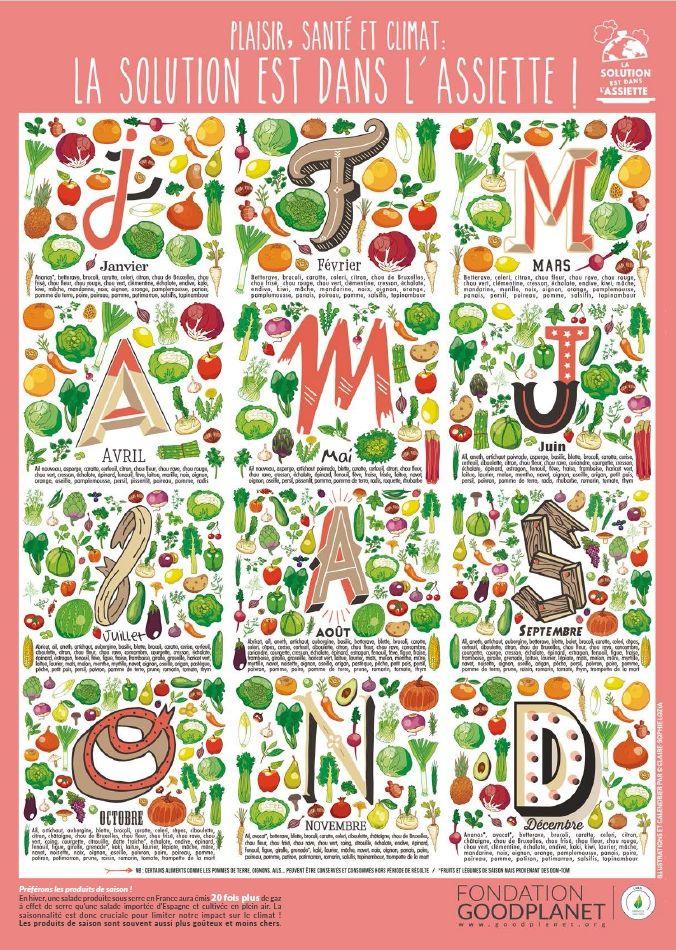 Envie d'offrir un cadeau de Noël original et utile ? Le calendrier des fruits et légumes de saison est fait pour vous ! Un grand merci à Claire -Sophie Lozia, notre illustratrice de choc !