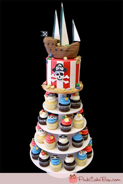 Pirate Themed Birthday Cupcake Stand by Pink Cake Box in Denville, NJ.  More photos and videos at http://blog.pinkcakebox.com/pirate-themed-birthday-cupcake-stand-2011-10-30.htm
