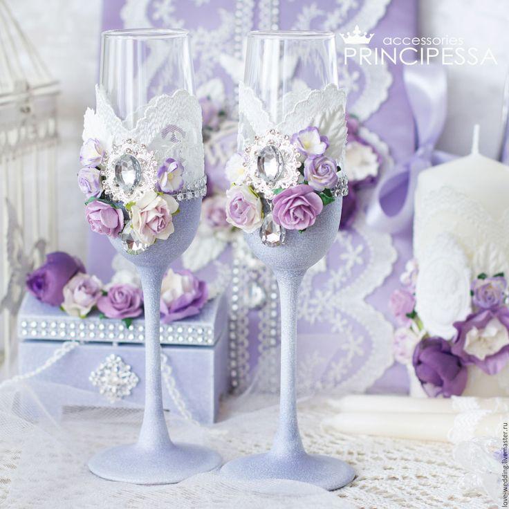 """Купить """"Лавандовые цветы"""" бокалы свадебные - сиреневый, аксессуары, Аксессуары handmade, аксессуары для фотосессий"""