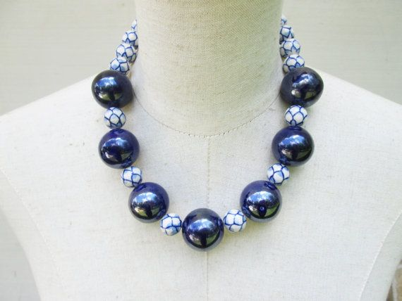 Hey, I found this really awesome Etsy listing at https://www.etsy.com/se-en/listing/453560072/huge-chunky-navy-blue-white-lapis-beaded