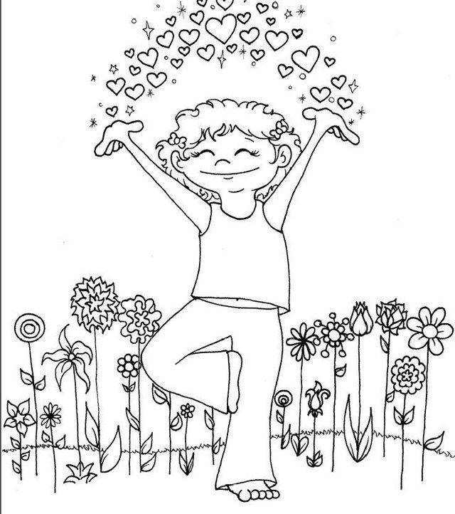 Yoga Pose Taking A Breath Coloring Page For Kids Kids Yoga Poses Yoga Coloring Book Childrens Yoga