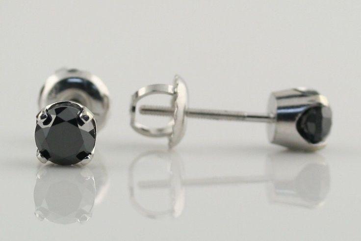 0.90 cwt Natural Black Diamond Screw Back Studs 14K White Gold Custom made NEW #custommade #Stud