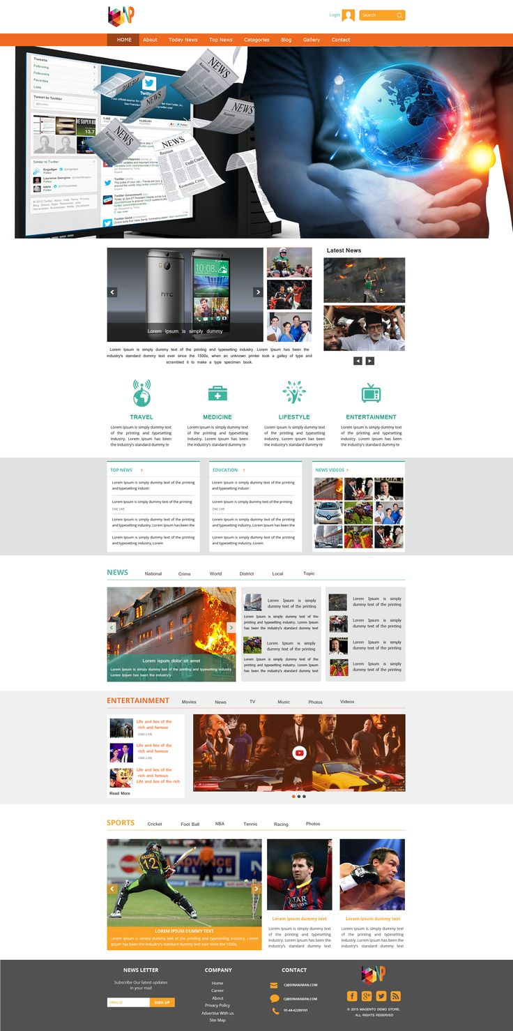 Sell365's News Portal Template. One of the best Website Builder in India. Design and customize your own website with our free website templates.