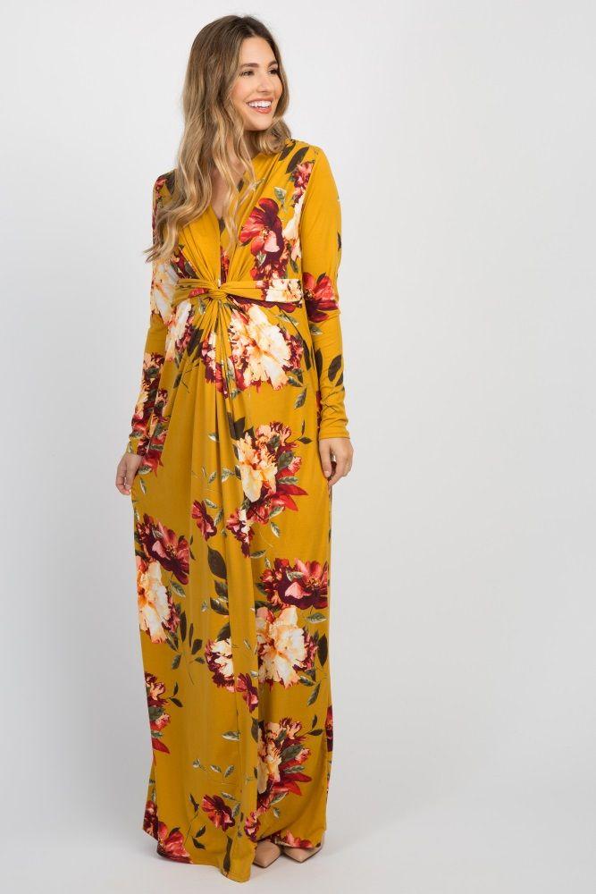 9e3b224de77 Yellow Floral Front Twist Long Sleeve Maternity Maxi Dress in 2019 ...