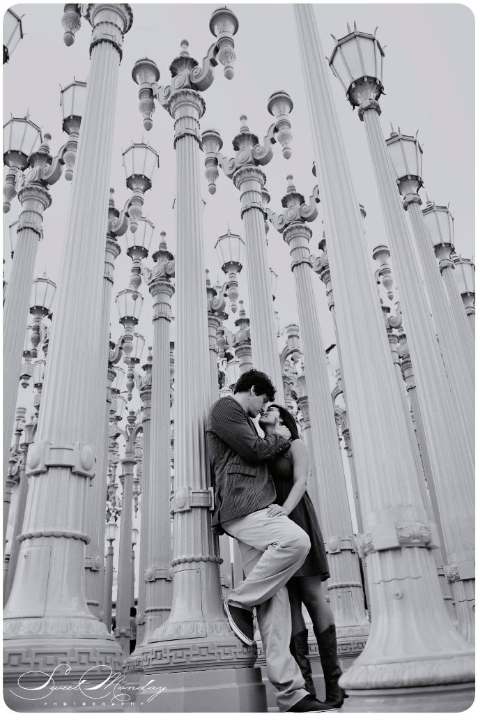 Urban Engagement Photos, Bride And Groom Portraits, LACMA, Lamps, Lamp Art,