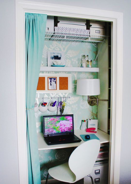 Pretty home office tucked into closet space