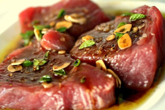 Tuna Steak marinated in Balsamic Vinegar, Olive Oil, Garlic, Oregano, Salt and Pepper - from RealItalianFoodies.com - tried, tested and delicious! Next stop - BBQ version!