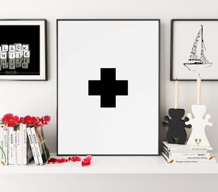 Swiss Cross Wall Art, Black and White Geometric Art, Nursery Wall Art, Swiss Cross Print, Plus Sign Wall Prints, Black White Printable Art