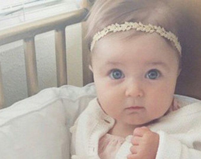 Bebé niña diadema - diadema - diadema recién nacido - bebé niña - recién nacido - bebé oro chica arco - diademas de oro-