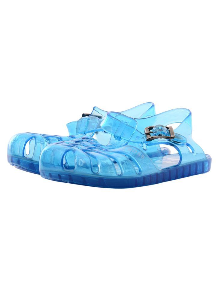 JUNIORS Boss Aqua Blue Logo Jelly Shoes | Accent Clothing