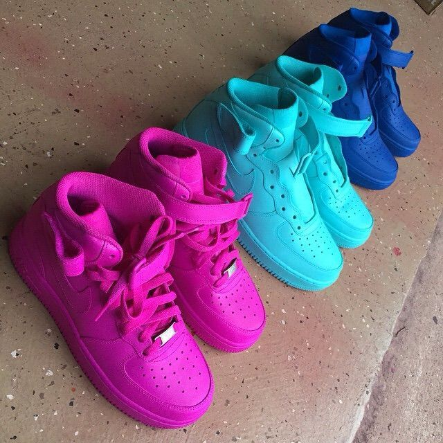 new styles 68d66 be79b High top Nike Air Force 1s, colorful sneakers, pink, fashion, style, sport  chic  ✊Shoe Game in 2019  Sneakers, Nike shoes cheap, Shoes