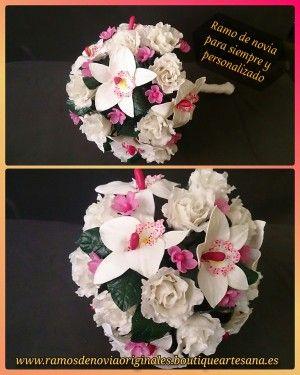 Ramo de novia rosas y orquideas. Porcelana.