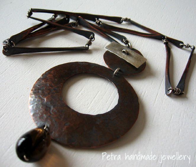 """Circle"" collana lunga chiusura toggle rame e arg di Petra Handmade Jewellery su DaWanda.com"