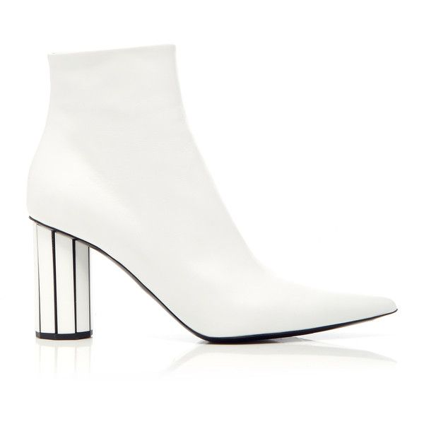 Proenza Schouler Leather Bootie (4,445 SAR) ❤ liked on Polyvore featuring shoes, boots, ankle booties, white, ankle boots, white bootie, ankle bootie boots, white booties and white boots