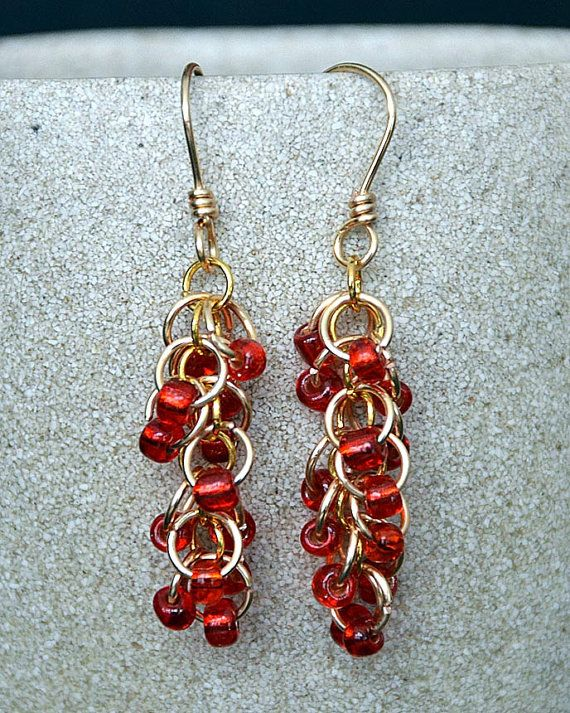 Gold Chain Maille Earrings with Red Beads