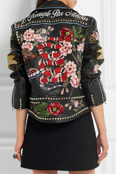 Gucci | Embellished leather biker jacket | NET-A-PORTER.COM