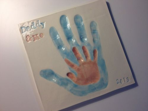 Memories in Clay Daddy and Me ceramic handprint plaque from Memories in Clay.  A great Father's Day gift. #babies #kids #gifts #family #dad