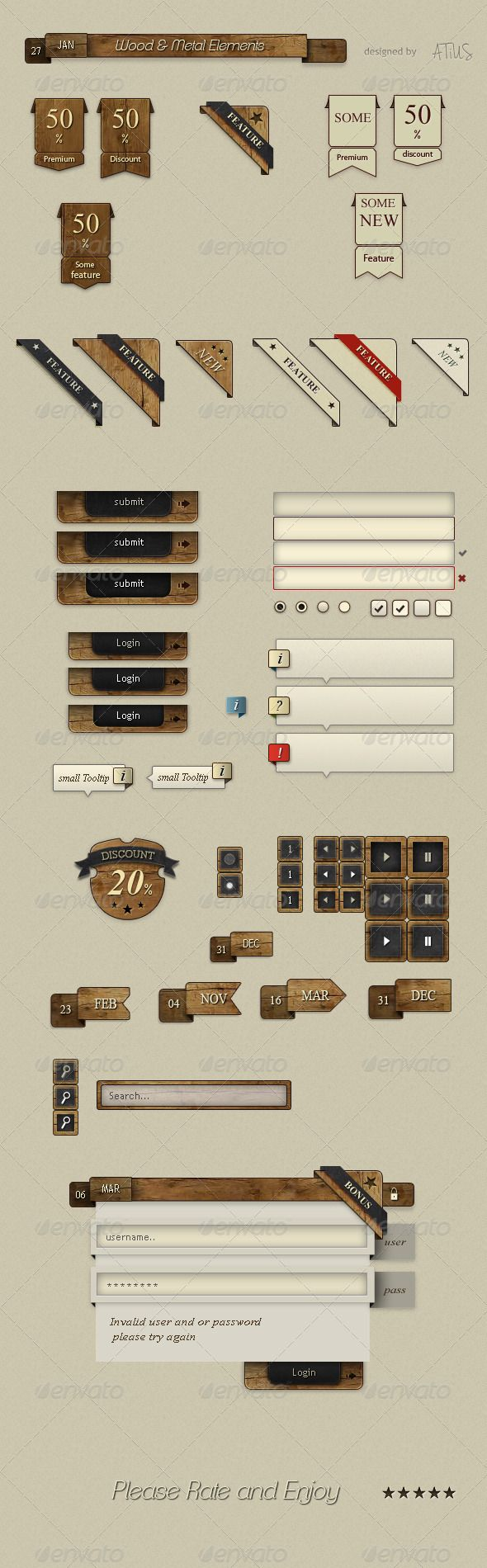 Wood & Metal UI  #GraphicRiver        Web Designers Resource With this pack you can create any wood inspired websites or you can just modify your current design. Features elements for blogging, regular websites and can be integrated into any e-commerce design as well. Package Features 	 - Over two dozen unique elements - All elements use shapes and patterns so its easy to change anything from a single layer - All buttons and inputs have active, hover and press styles so its easy to include…