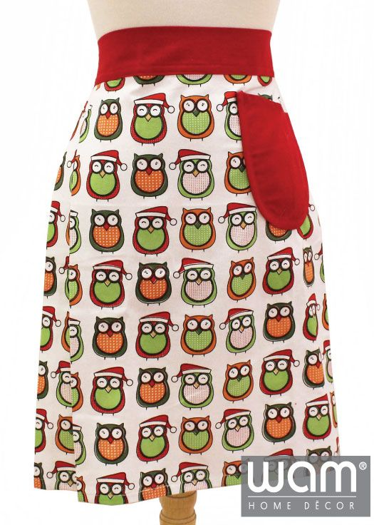 Fun printed Christmas owl design apron, a perfect way to brighten your kitchen. Matching accessories also available. http://wamhomedecor.com.au/index.php/jolly-owls-half-apron.html #christmasdecor #apron