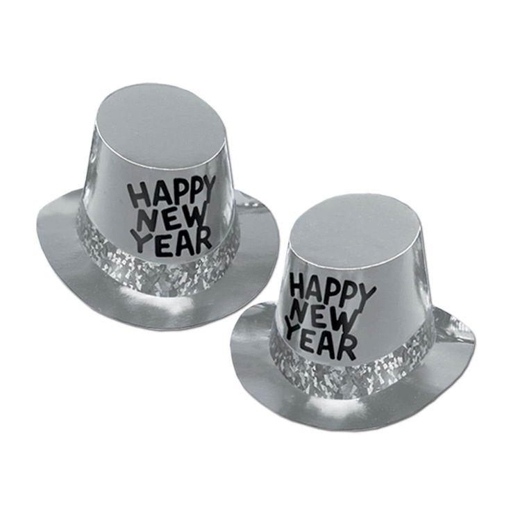 "Club Pack of 25 Platinum ""Happy New Years"" Legacy Party Favor Hats, Silver"