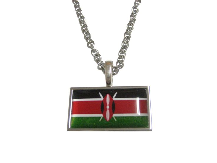 Thin Bordered Kenya Flag Pendant Necklace