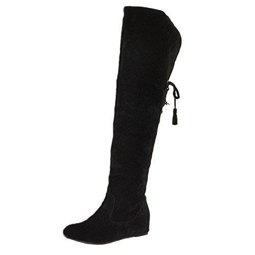 Oferta: 31.45€. Comprar Ofertas de nonbrand Mujer cuña talón sintético Botas de caña alta., color Negro, talla 41 barato. ¡Mira las ofertas!