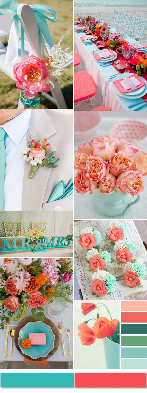 Perfect Turquoise and Coral Wedding Color Combination Ideas