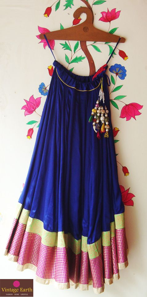 Indigo Satin #Skirt Price Rs 4550/- To order: send an email to vintageearth.india@gmail.com with the Product Code: 008913