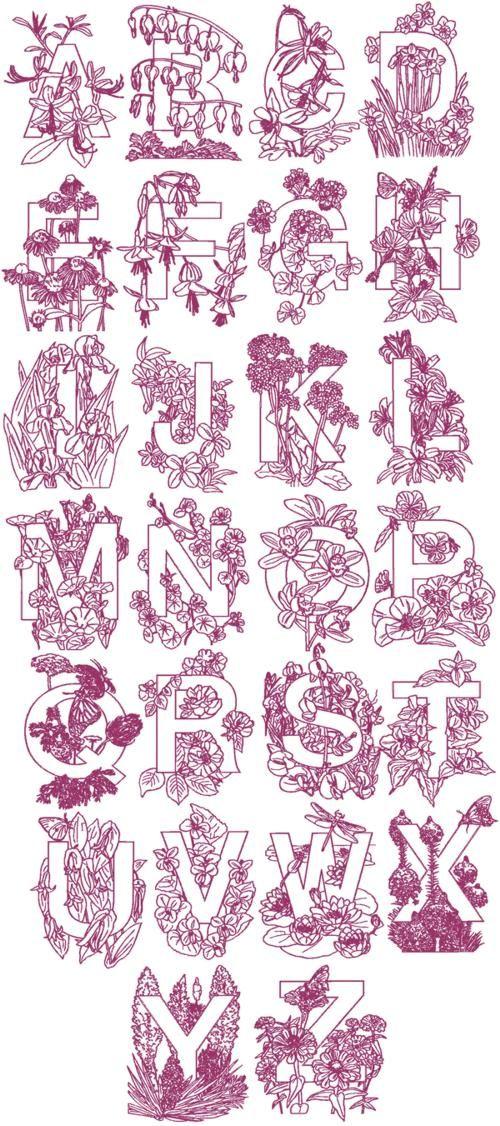 Advanced embroidery designs flower garden alphabet