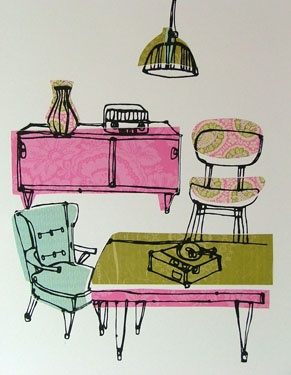 Ruth Allen's Fifties' screenprints via Kickcan & Conkers