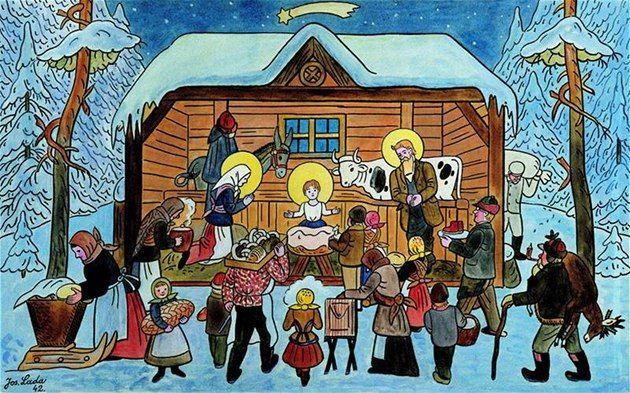 Josef Lada Vanocni Obrazky | Josef Lada - Betlém v zimě, 1942, soukromá sbírka