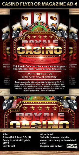 Casino Magazine Ad or flyer is a modern psd template and perfect promotion for any Casino website, casino club, or casino event. 3 PSD files  3 sizes (A4,A5 and 8.5×11inch) including bleeds and guides  CMYK Print ready 300 DPI  Easy named layers for  http://www.casinowebscripts.com/