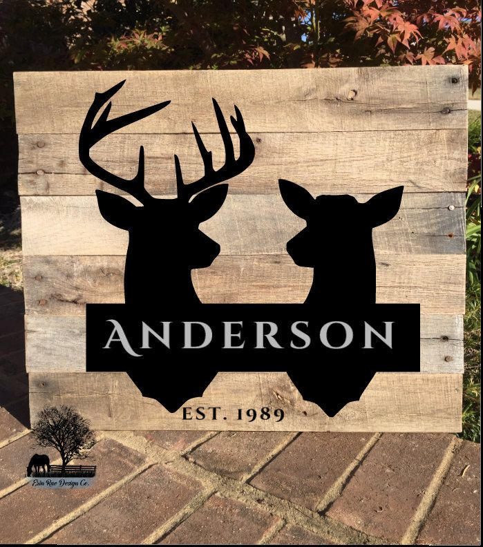 Personalized Last Name Sign with Buck and Doe Deer Silhouette and Wedding year by ErinRaeDesignCo on Etsy